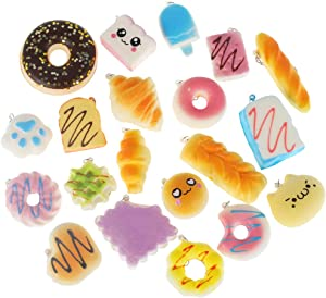 20 Pcs Squishy Toys, Squishy Stress Toys for Kids Mini Squishies Pack Food Slow Rising Squishy Toys, Cell Phone Straps Key Chains Stress Relief Toy