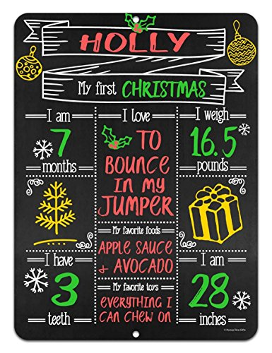Babies First Milestone Chalkboard Style Metal Sign Reusable Photo Prop for Events and Holidays -