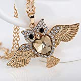 SP Women Fashion Owl Crystal Rhinestone Pendant Necklace Sweater Chain Jewelry#by pimchanok shop (#9)
