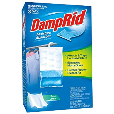 .com - DampRid 3-Pack (14oz. Each)   Absorb Unwanted Moisture Eliminating Musty Odors   Convenient Hanging Bags Create Fresher, Clean Air   Pure Linen Fragrance -