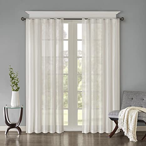 Sheer Curtains For Bedroom, Modern Contemporary White Window Curtain For  Kitchen, Harper Solid Fabric Curtain , 42\