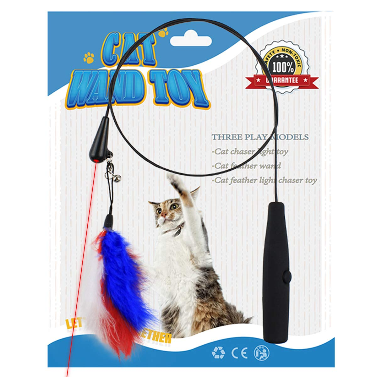 Namsan Cat Teaser Toy - Interactive Cat Toy Feather Wand Cat Toy