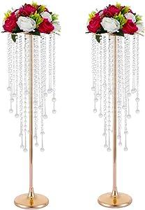 LANLONG 2pcs Wedding Home Decoration Flower Road Leads Gold Acrylic Crystal Wedding Table Centerpiece (Gold, 29.5