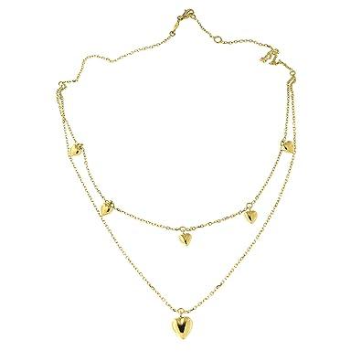 59b7f71a3ba00 Amazon.com: 14k Yellow Gold Double Strand Dangling Hearts Layered ...