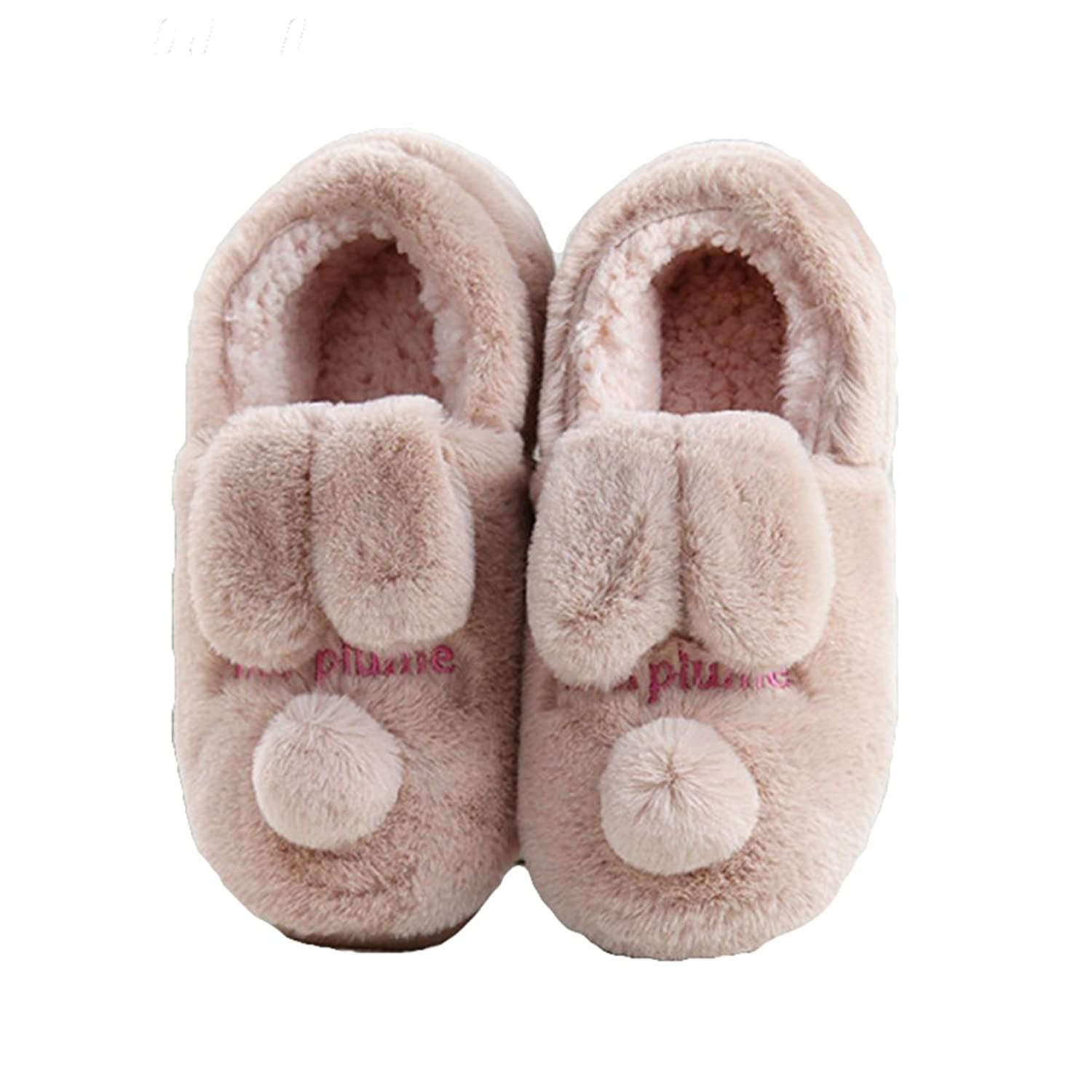 3e5823a3d33515 Btrada Womens Winter Cozy Fur Lined Cotton Slippers Cartoon Dog Outdoor  Indoor Moccasin Couple Slippers