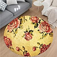 Nalahome Modern Flannel Microfiber Non-Slip Machine Washable Round Area Rug-d Victorian Style Rose Pattern With Dramatic Color Boho Art Design Mustard and Ligth Pink area rugs Home Decor-Round 36