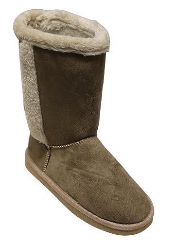 Cupcake-115 Women's round toe snow winter woolen lining suede soft comfort mid-calf boots