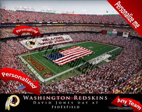 Washington Redskins Team Stadium Print - Personalized Officially Licensed - Stadium Print Personalized