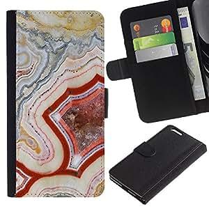 KLONGSHOP // Tirón de la caja Cartera de cuero con ranuras para tarjetas - Patrón Geología Roca Roja Naturaleza - Apple Iphone 6 PLUS 5.5 //