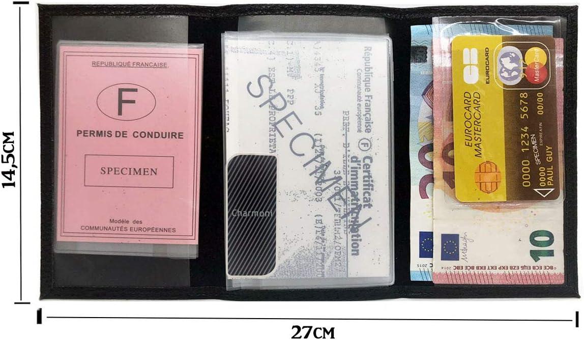 en Cuir Vachette Charmoni/® permis de Conduire 9 cm X 14,5 cm la Carte Grise 3 Plis Etui Pochette Porte Papier Voiture Chocolat Eden La pi/èce didentit/é