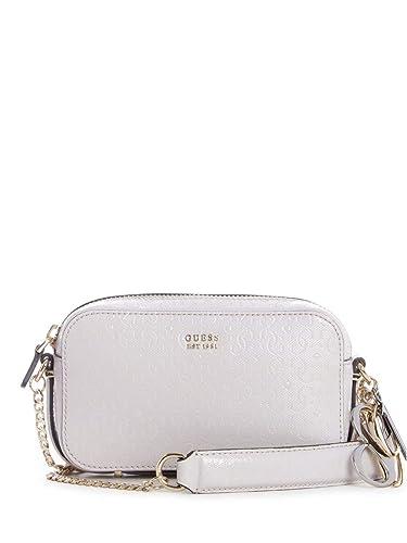 Details zu GUESS Tamra Small Society Satchel Handtasche Tasche Stone Weiß Neu