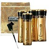 Keratin Cure 0% Formaldehyde Bio-Brazilian Hair Treatment Gold & Honey 160 ml / 5.41 oz 6 Pieces Kit Contains Argan Oil, SAFE FOR KIDS.
