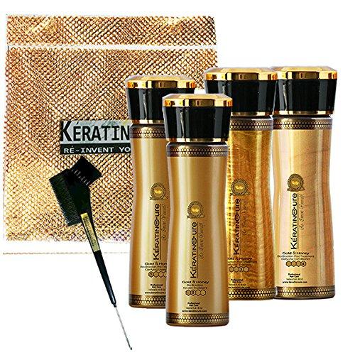 Keratin Cure 0% Formaldehyde Bio-Brazilian Hair Treatment Gold & Honey 160 ml / 5.41 oz 6 Pieces Kit Contains Argan Oil, SAFE FOR KIDS. by Keratin Cure