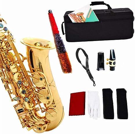 LVSSY-Estudiante Saxofón Alto E Flat Gold Lacquer Saxo Alto con Estuche de Transporte Banda para El Cuello de La Cabeza Guantes Cepillo Pasta de Corcho Paño de Limpieza: Amazon.es: Deportes y aire