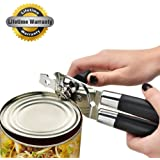 AmazeFan Opener Heavy Duty Can Opener Stainless Steel Can Bottle Opener with Smooth Turn Knob and Ergonomic Anti-slip Handles.