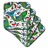 3dRose Danita Delimont - Artwork - Ancient Arab Islamic Fish Designs Pottery Madaba Jordan - set of 4 Coasters - Soft (cst_276909_1)
