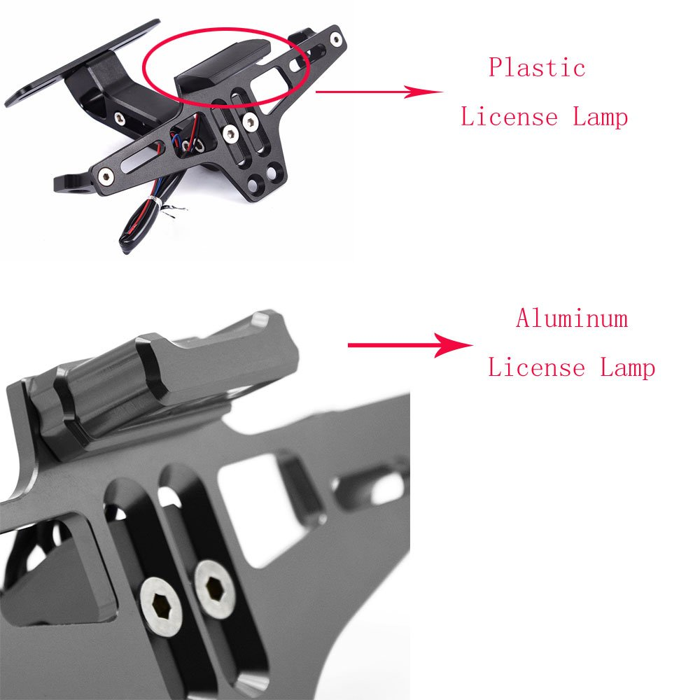 Gold Motorcycle Accessories Universal Fender Eliminator License Plate Bracket Holder Ho Tidy Tail with Aluminium LED Light for Yamaha FZ09 FZ07 YZF R1 R3 R25 for Honda XADV