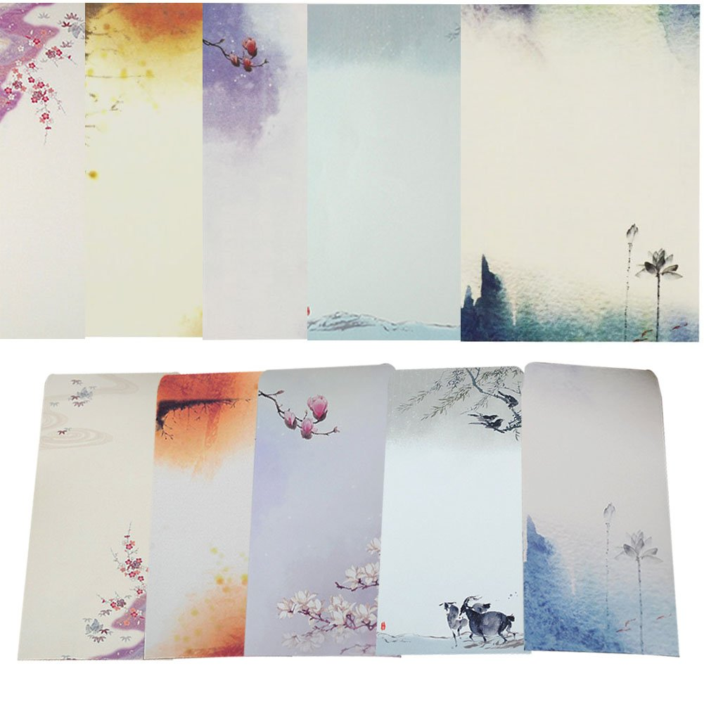 40 Pcs Letter Writing Stationery Paper Letter Set, with 20 Pcs Envelopes, Ink Painting Design Assorted Color (Style 1)
