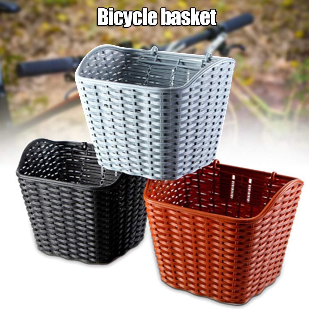 HIA Trade Bike Basket with Band Strap Hand Woven Wicker Cycling Front Bags for Bicycle or Scooter Retro Art Style Baskets