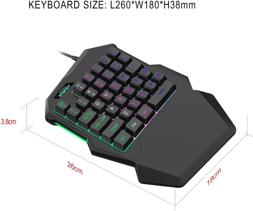 Radom One-Handed Mechanical Gaming Keyboard Ergonomic Game Controller Compatible with PC//MAC//PS4//XBOX ONE Gamer RGB Backlit 35 Keys Portable Mini Gaming Keypad