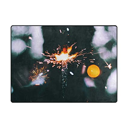 Amazon com : WTER Sparkling Small Fireworks Doormat Area Rug