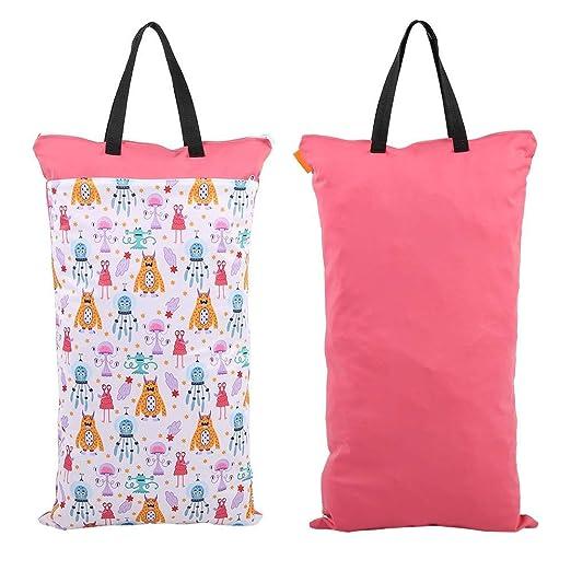 La bolsa de pa/ñales,la bolsa de pa/ñales lavable reutilizable seca mojada impermeable del beb/é EF160 Bolsa de Pa/ñales Reutilizable Bolsa con Cremallera Impermeable para mam/á