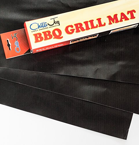 """Chillijoy Best BBQ Grill Mat - Extra Large 20""""x13"""" Set of 3 Premium Heavy Duty Reusable Non Stick Liners for Professional Grilling Baking Outdoor Cooking FDA Certified Easy to Clean"""
