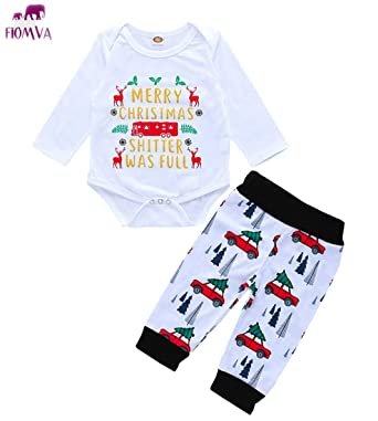 25db4804b Amazon.com: Fiomva Christmas Newborn Baby Boy Girl Clothes Outfits Merry Christmas  Romper Jumpsuit Bodysuit Truck Pants Leggings Gift: Clothing