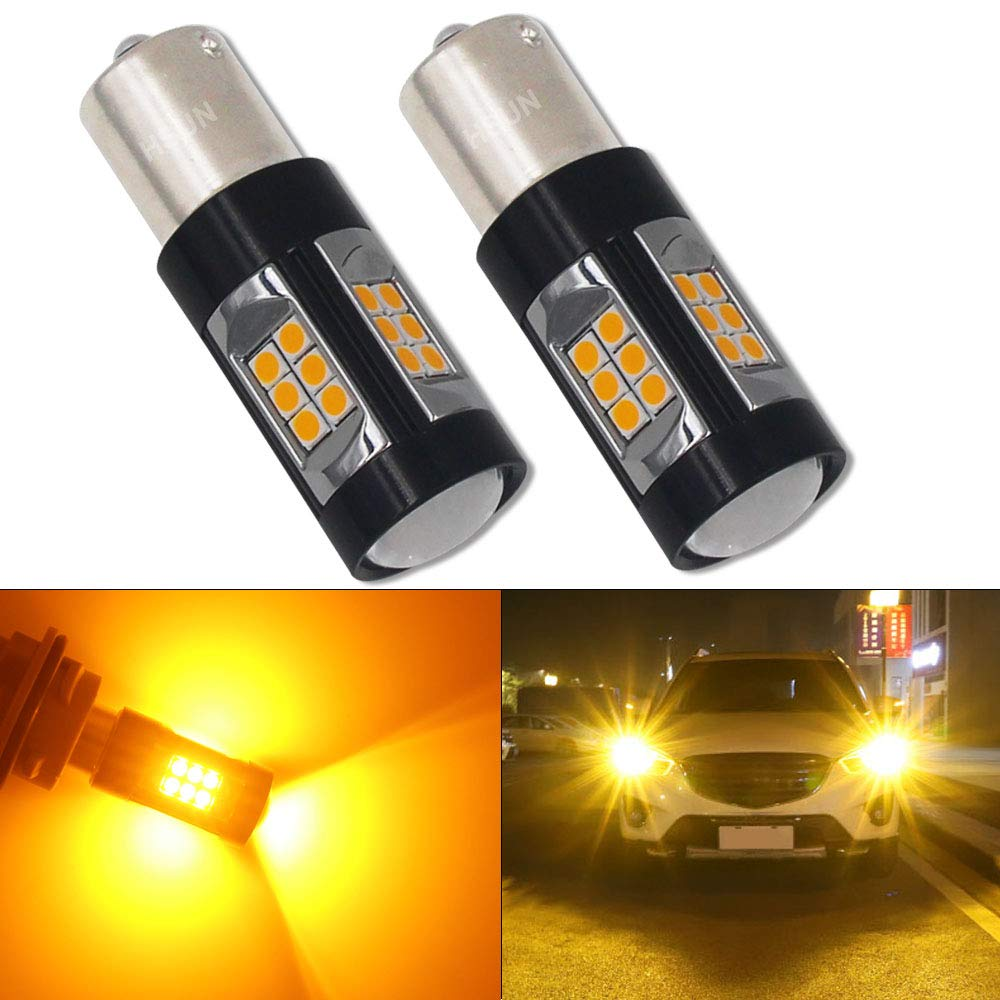 HSUN BA15S P21W 1156 LED Bulbs,Built in Canbus Error Free System with 30LED SMD3030 Chipsets Extremely Bright Bulbs For Car Turn Light,2 Pack, Amber/Orange