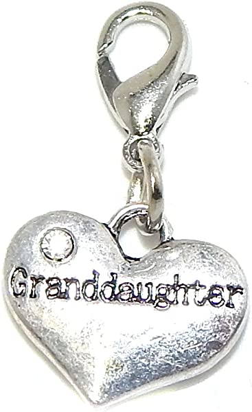"dc84e593c Jewelry Monster Clip-on ""Dangling Granddaughter Heart"" w/ White  Crystal Rhinestone"