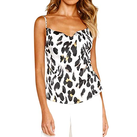 45bec40e161d5 Women Ladies Leopard Print Top Cami Dog Casual Top Blouse Off Shoulder Tank  White