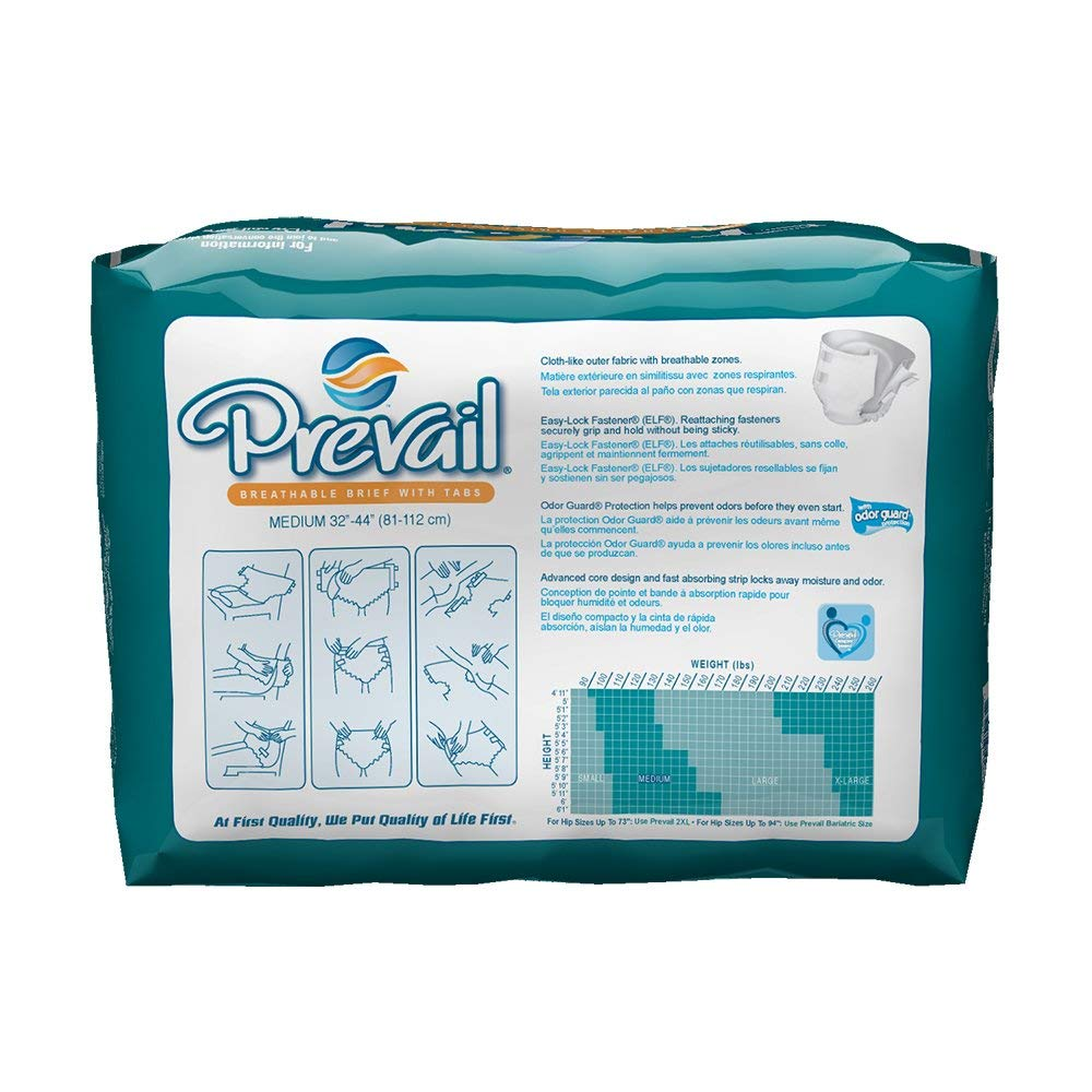 Amazon.com: Prevail First Quality Incontinent Brief Tab Closure Medium Disposable Heavy Absorbency (#PV-012/1, Sold per Case): Health & Personal Care