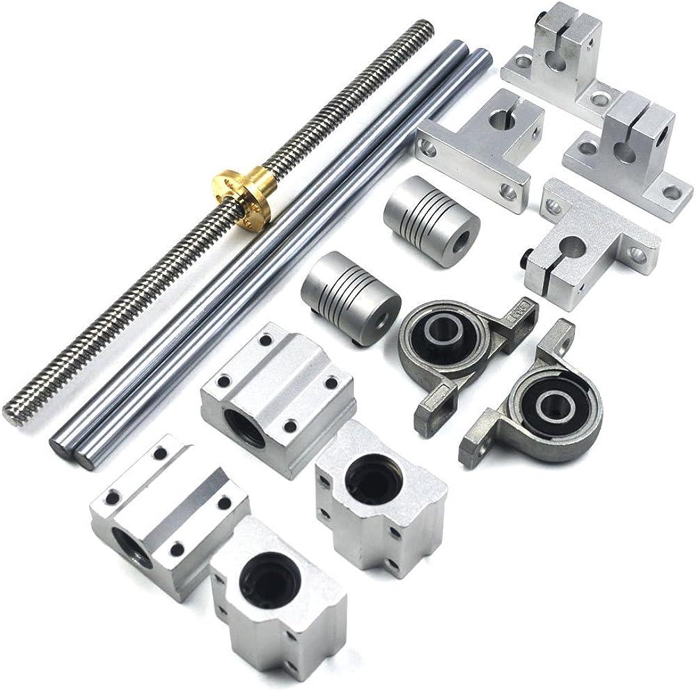 400mm T8 Dual Lead Screw Rod Linear Rail Shaft CNC Optical Axis Bearing   P