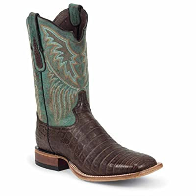 6074 Tony Lama Men's Belly Caiman Western Boots - Chocolate