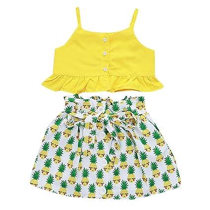 e5746d7bb79d0 Amazon.com: Baby Girls Crop Tops Skirt Set - Toddler Kids Ruffle ...
