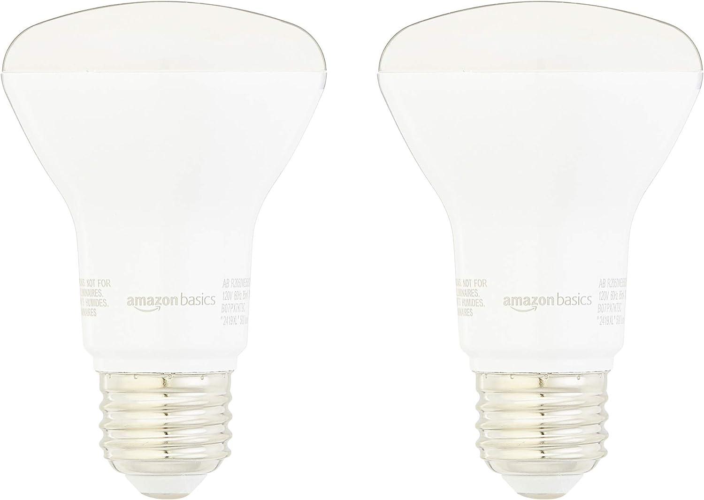 AmazonBasics 50 Watt Equivalent, Dimmable - R20 LED Light Bulb, Daylight, 2-Pack