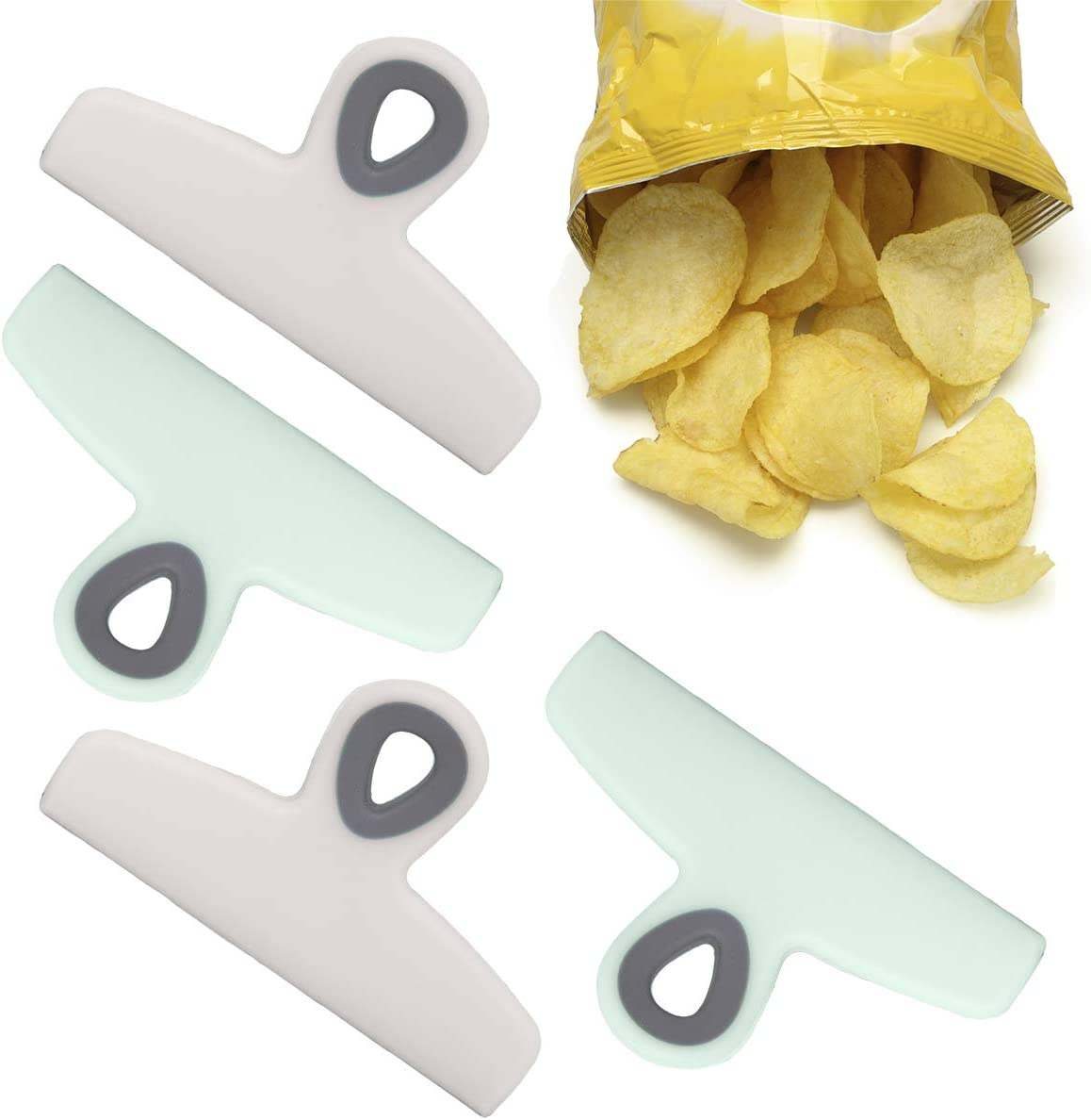 Cook With Color Bag Clips, 4 Large Heavy Duty Chip Clips for Food Storage with Air Tight Seal Grip for Snack Bags and Food Bags, Jumbo Food Clips (Mint & Grey)