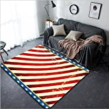 Vanfan Design Home Decorative Flag of America Dirty Background on US theme Modern Non-Slip Doormats Carpet for Living Dining Room Bedroom Hallway Office Easy Clean Footcloth