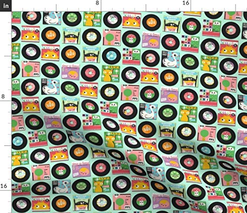 Spoonflower Retro Vinyl Fabric - Vintage Vinyl Records Music Retro Kids Vinyl Record Music Vintage Kid Children 45 by Heidikenney Printed on Petal Signature Cotton Fabric by The Yard -