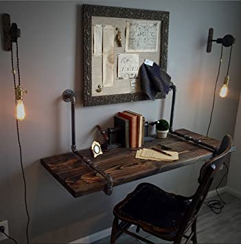ZJM-tables American Industrial Style Wandtisch an der Wand befestigte  Tabelle Küche Esstisch Computer Schreibtisch kreative Worktable Wandbehang  ...