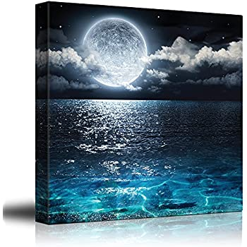 Wall26   Big Moon Illuminating The Clear Ocean Blue   Canvas Art Home Decor    24x24