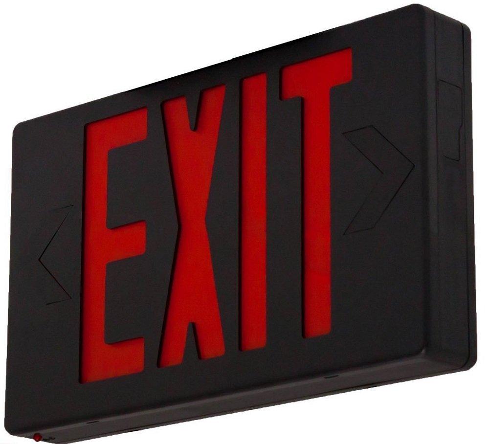 Easy Mount LED Exit Sign Emergency Light Lighting Emergency LED Light/Battery Back-up/Double Face/Black Housing/UL Certified (Red Letters)