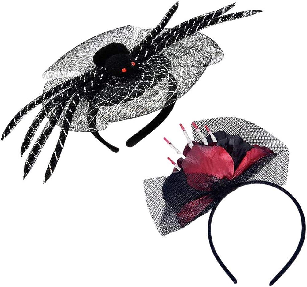 Holidaywoo 1 Pcs Halloween Spider Headband+1 Pcs Skull Day of The Dead Flower Headband Rose Flower Crown Headpiece for Halloween Cosplay
