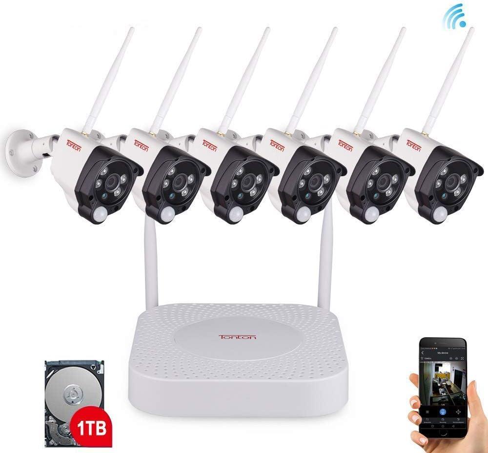 Tonton - Sistema de videovigilancia inalámbrico NVR (8 Canales, 1080p, 6 x 1080p, WLAN, cámara Exterior + Disco Duro de 1 TB, Acceso en línea para Interiores y Exteriores)