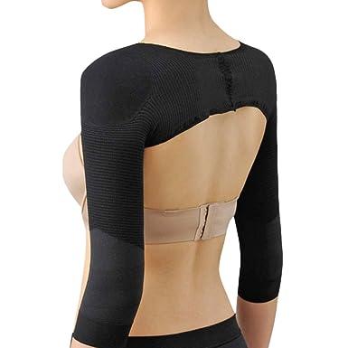 f0cc6e9b26 Zhhlaixing Body Shaping Cothing Posture Correction Long Sleeve Arm  Butterfly Sleeves Shoulder Pads Shapewear Black  Amazon.co.uk  Clothing