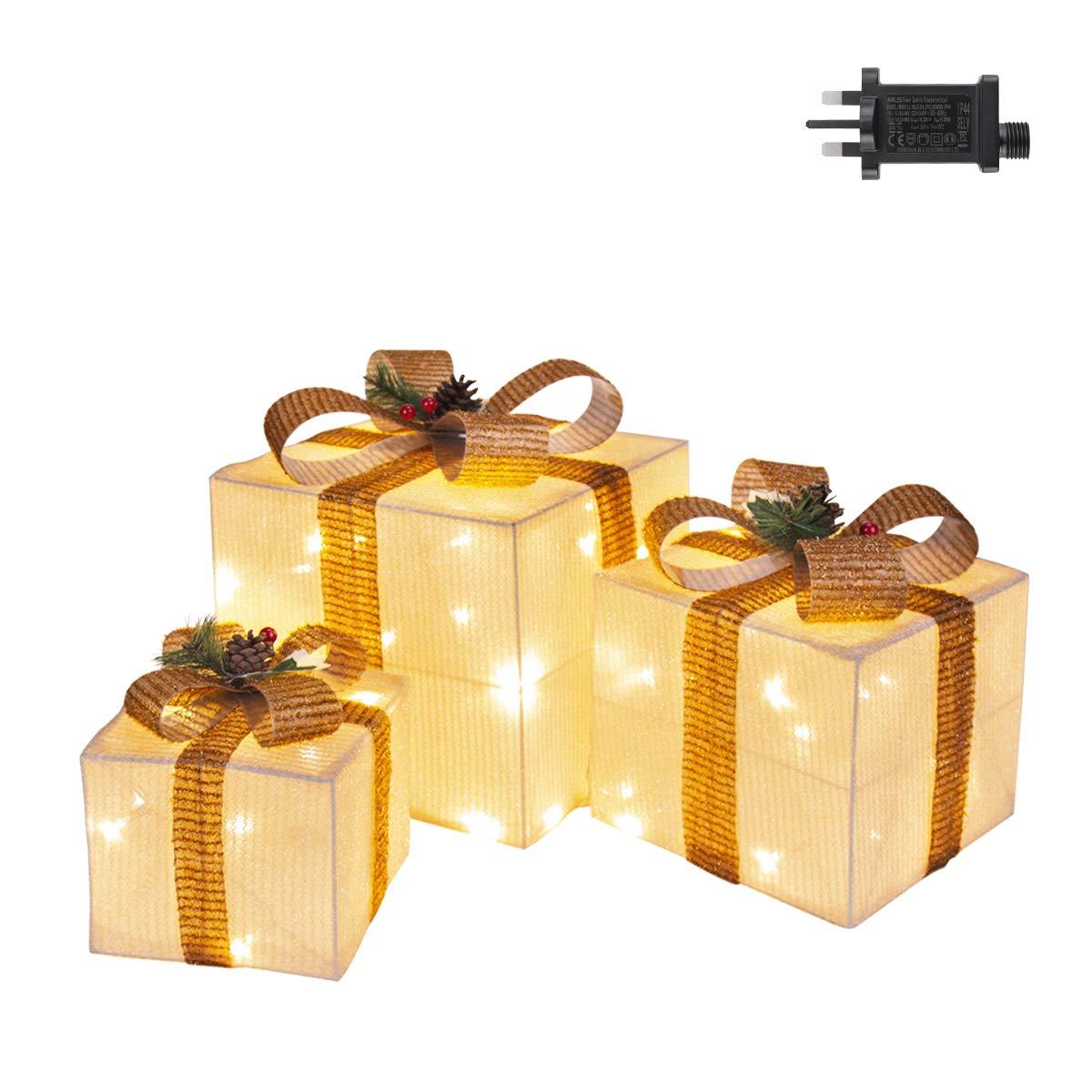 GIGALUMI Ensemble de 3 bo/îtes /à cadeaux illumin/ées /à DEL pour bo/îtes de No/ël Colis d/écoratifs de No/ël illumin/és pr/ésente des ornements avec des guirlandes et un n/œud pour la d/écor