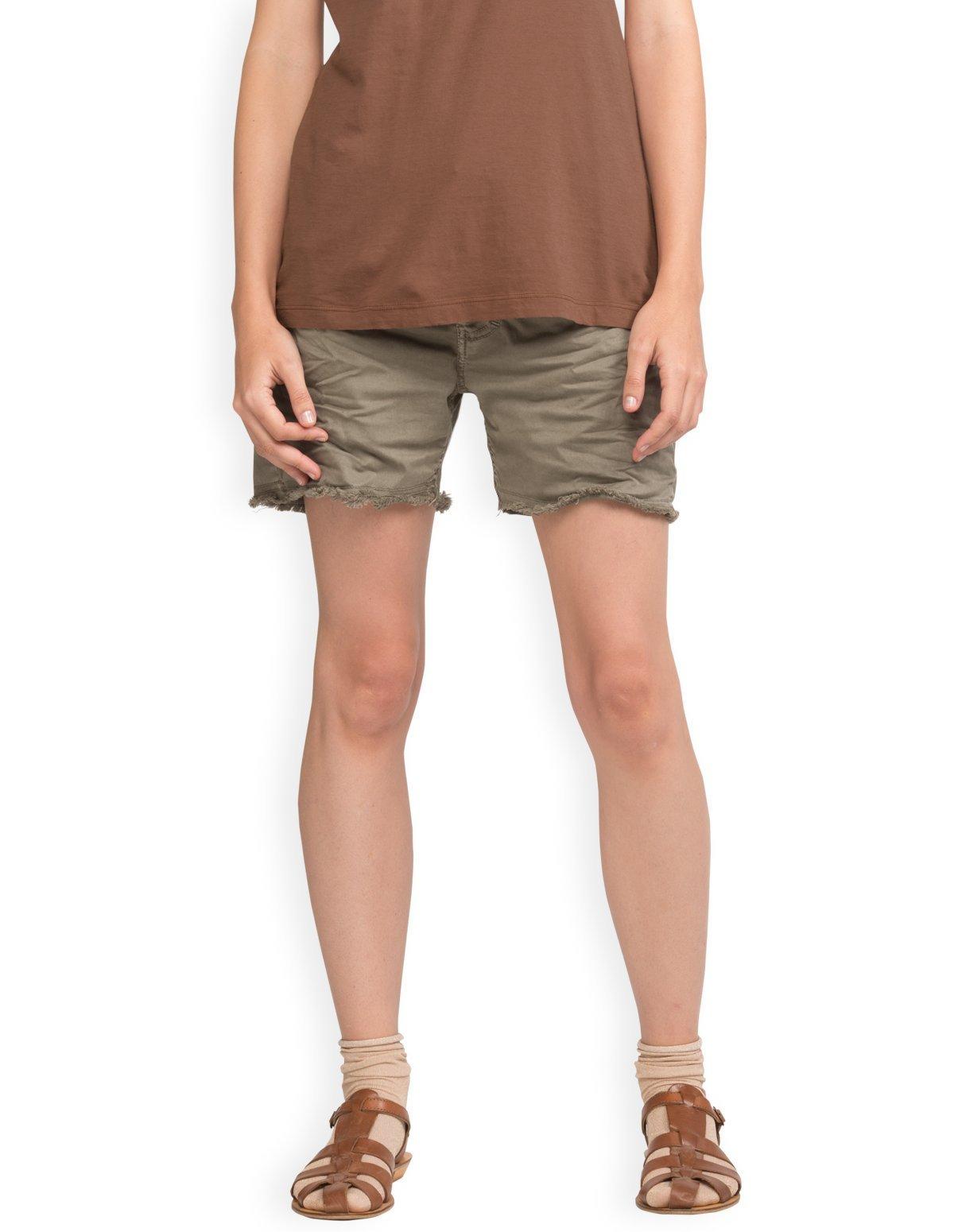 Neushop Women's Please P26LCV94U Wrinkled Cotton Frayed Shorts, Coriander , Size L