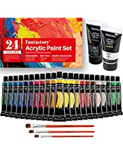 Acrylic Paint Set, Fantastory 24 Colors(22 Tubes of 0.74 oz/22 ml & 2 Tubes of 2.64 oz/75 ml), Non Toxic, Non Fading, Waterproof, Rich Pigments for Painters, Adults & Kids, Ideal for Canvas Wood Clay