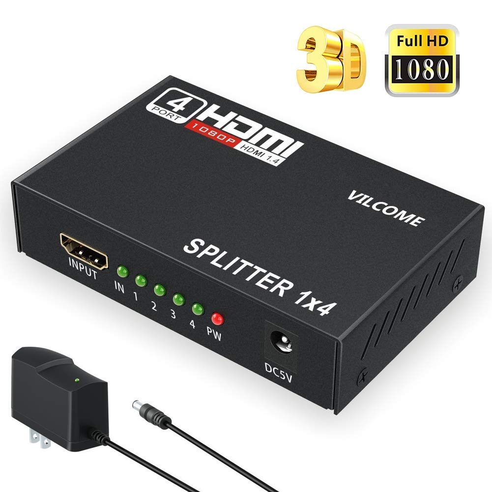 HDMI Splitter, VILCOME 1 in 4 Out Hdmi Splitter Adapter Support 4Kx2K 3D 1080P Hdmi Switch Signal Distributor with Metal Box HD Amplifier with US Adapter for HDTV PC PS3/PS4 Xbox Blue-ray and More