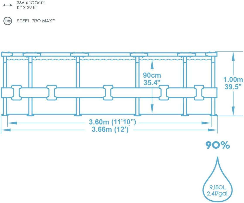 Bestway p61875ass18 Piscina, 9150 L, marrón, 366 x 366 x 100 cm ...